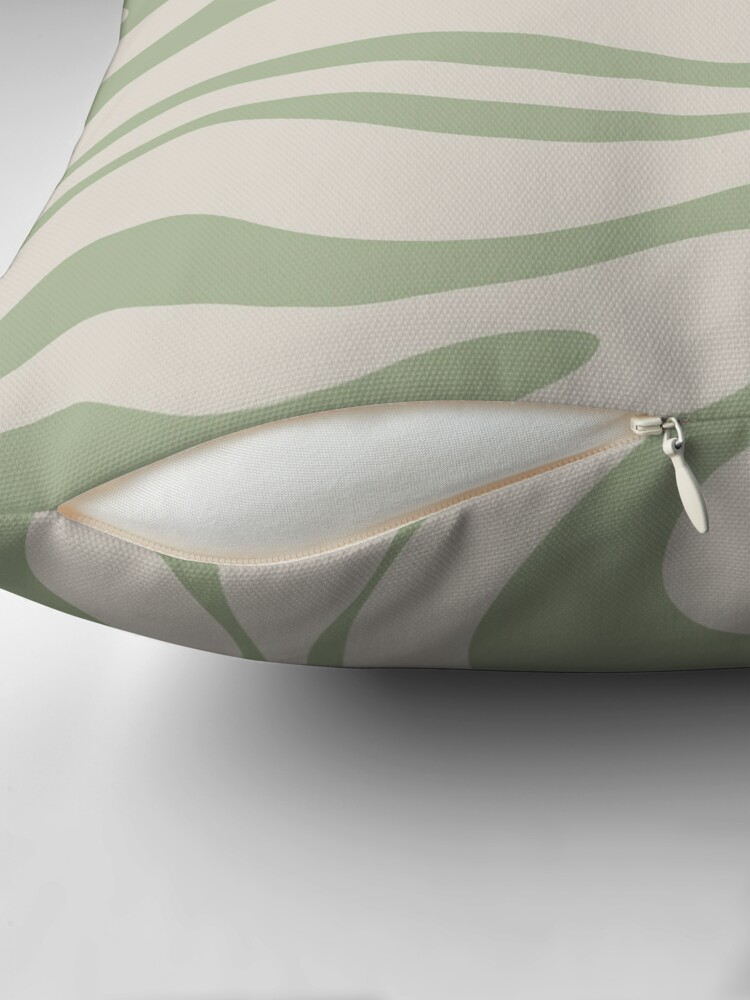 Alternate view of Liquid Swirl Abstract Pattern in Beige and Sage Green Throw Pillow