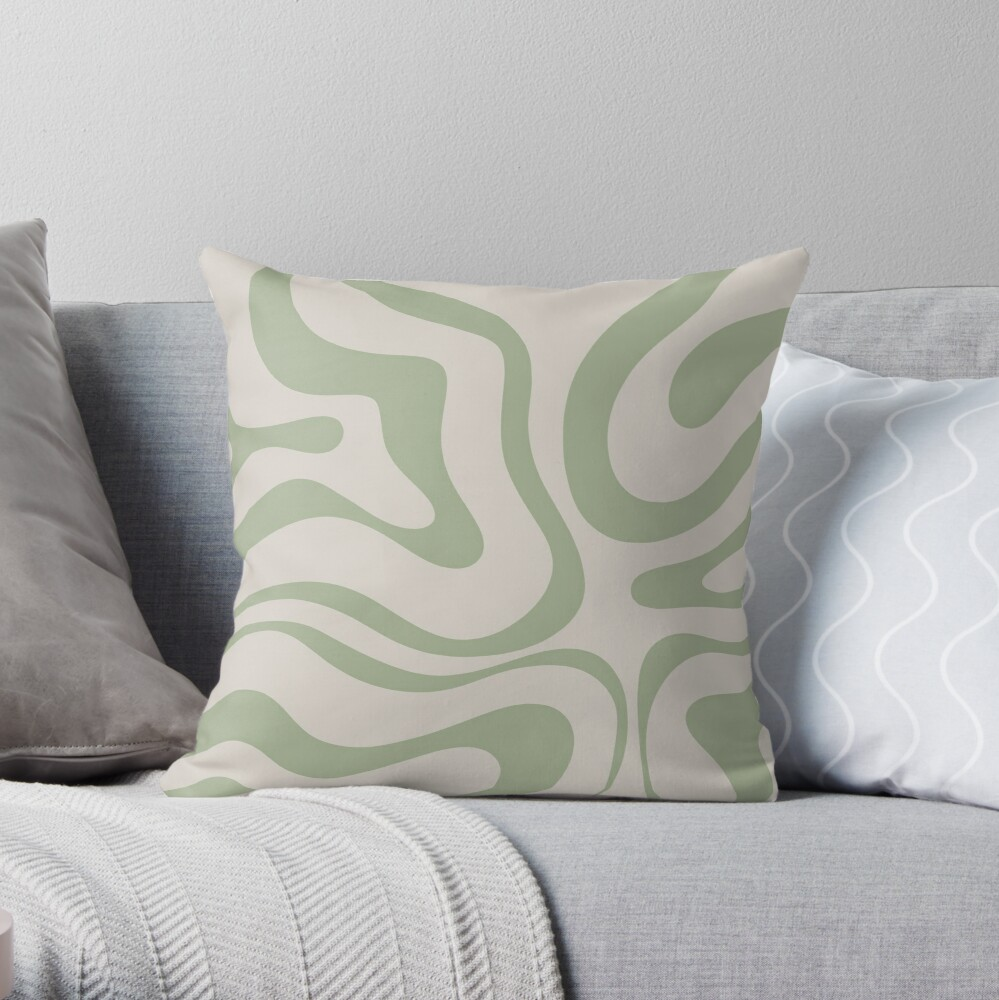 Liquid Swirl Abstract Pattern in Beige and Sage Green Throw Pillow