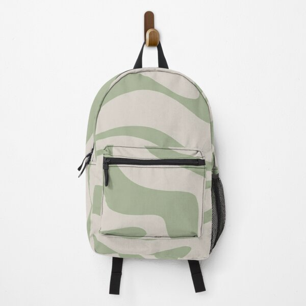 Liquid Swirl Abstract Pattern in Beige and Sage Green Backpack