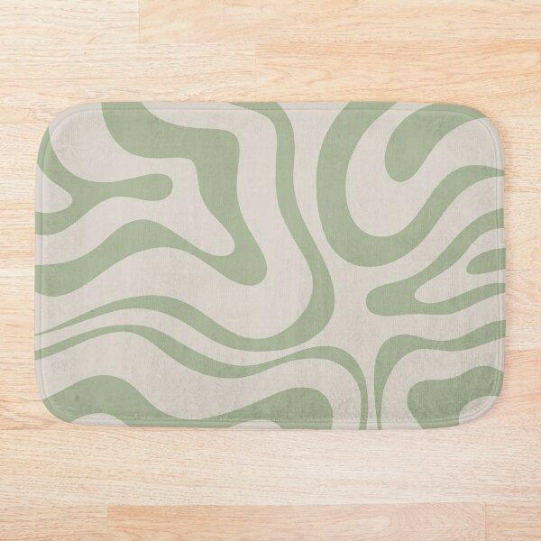 Liquid Swirl Abstract Pattern in Beige and Sage Green Bath Mat