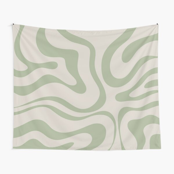 Liquid Swirl Abstract Pattern in Beige and Sage Green Tapestry
