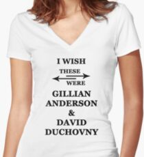 I wish these were Gillian Anderson and David Duchovny Women's Fitted V-Neck T-Shirt