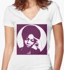 Nina simone - best african singer Women's Fitted V-Neck T-Shirt