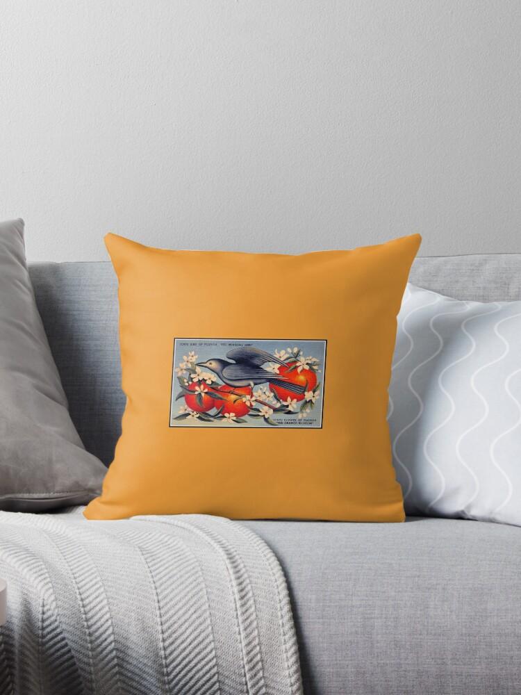 'Vintage mockingbird Florida state bird, state flower orange blossom' Throw  Pillow by aapshop
