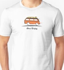 Orange Vanagon Caravelle Bulli Bus Gone Surfing  T-Shirt