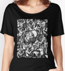 The Giant Head of Philosopher Michel Foucault amidst a scene of Whipping and Flagellation Women's Relaxed Fit T-Shirt