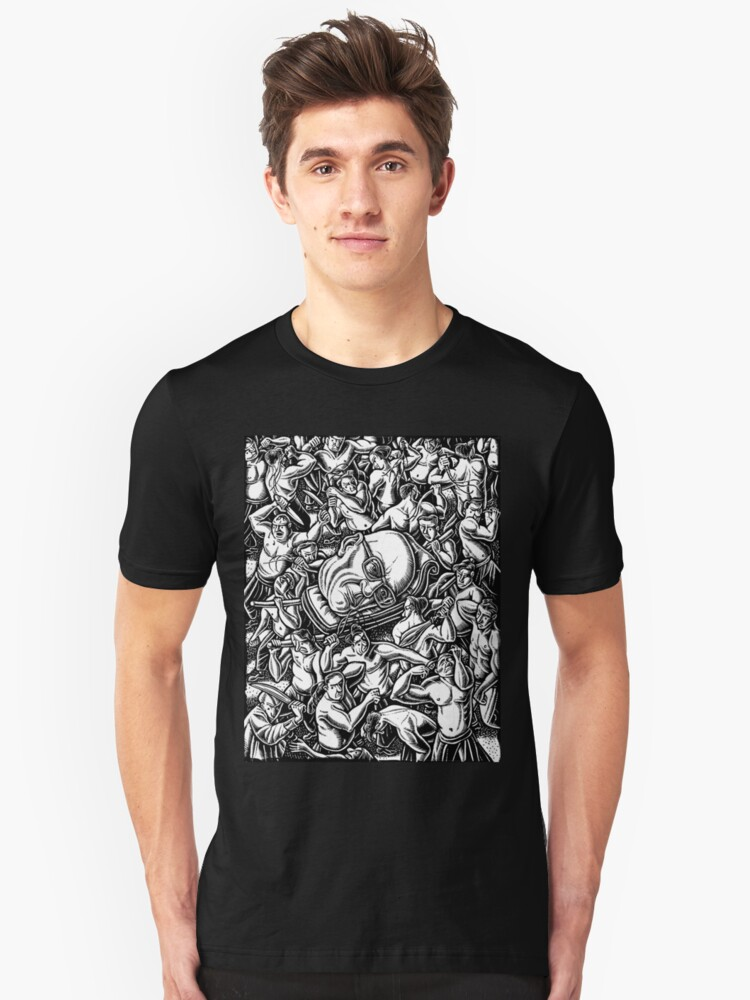 The Giant Head of Philosopher Michel Foucault amidst a scene of Whipping and Flagellation Unisex T-Shirt Front