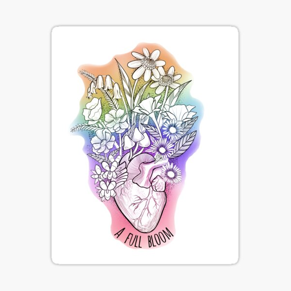Full Bloom Wild Flower and Anatomical Heart Bouquet  Sticker