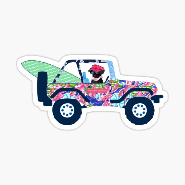 Preppy Jeep Black Lab Puppy - Island Vacation Sticker