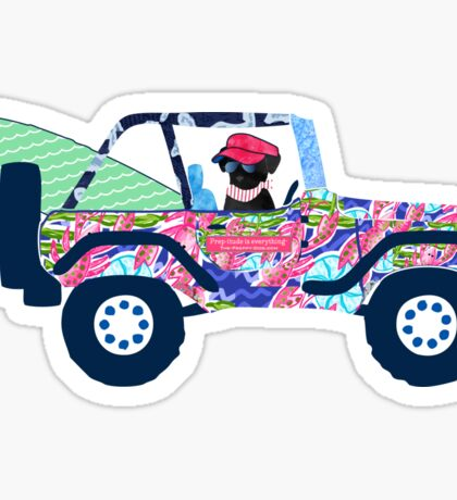 Preppy Jeep Black Lab Puppy - Island Vacation Sticker