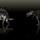 Allosaurus vs Stegosaurus Portrait by Gary Collins