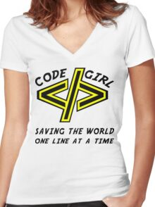 Codegirl Women's Fitted V-Neck T-Shirt