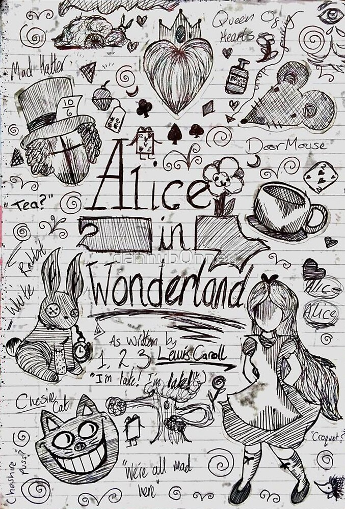 Alice in Wonderland Sketchbook Page 1 by dannyb0nney