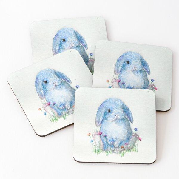 Blue Bunny Coasters (Set of 4)
