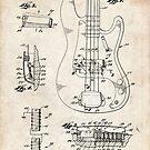 1961 Fender Precision Bass Guitar Patent Art by Steve Chambers