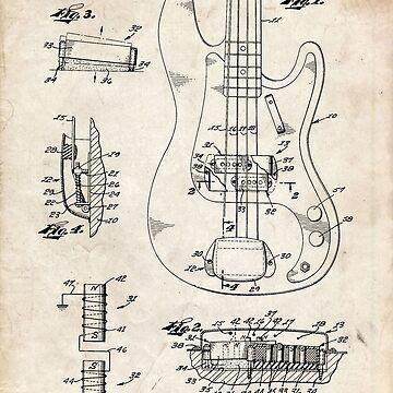1961 Fender Precision Bass Guitar Patent Art by geekuniverse