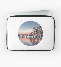 Keep Exploring Lake and Pine Trees Laptop Sleeve