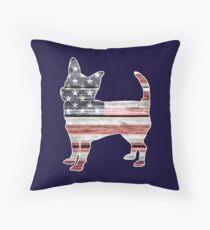 Patriotic Chihuahua, American Flag Throw Pillow