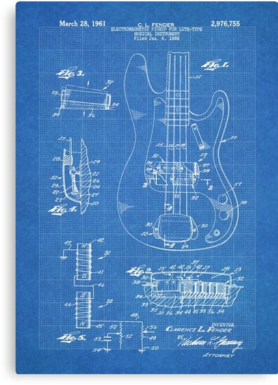 1961 fender precision bass guitar patent art blueprint canvas 1961 fender precision bass guitar patent art blueprint by steve chambers malvernweather Image collections