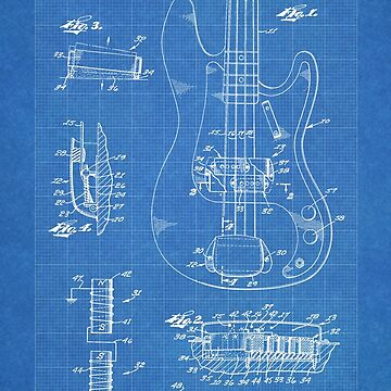 1961 Fender Precision Bass Guitar Patent Art, Blueprint by geekuniverse