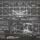1903 Wright Flyer Airplane Invention Patent Art, Blackboard by Steve Chambers