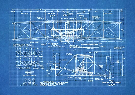 1903 Wright Flyer Flugzeug Erfindung Patent Art, Blueprint\