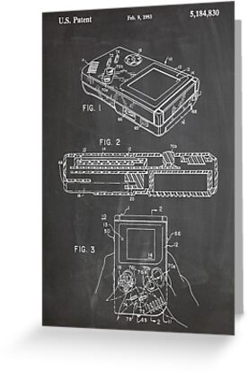 1993 Nintendo Gameboy Video Game Invention Patent Art, Blackboard by Steve Chambers