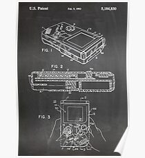 1993 Nintendo Gameboy Video Game Invention Patent Art, Blackboard Poster
