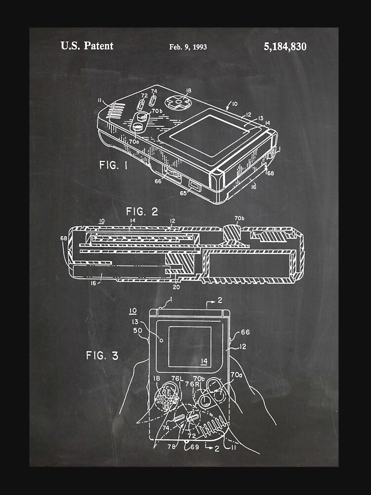 1993 Nintendo Gameboy Video Game Invention Patent Art, Blackboard by geekuniverse
