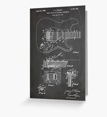 1956 Fender Stratocaster Guitar Invention Patent Art, Blackboard Greeting Card