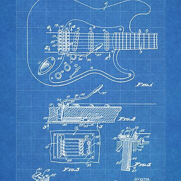 1956 Fender Stratocaster Guitar Invention Patent Art, Blueprint by geekuniverse