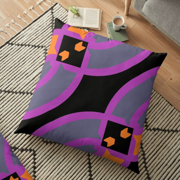 Modern Abstract Geometric Black Grey Pink Pattern Design 753 Floor Pillow