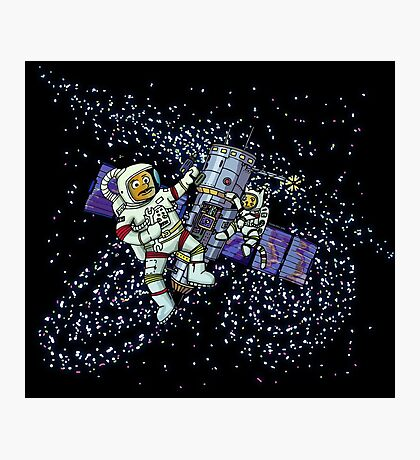 Spaceman and space cat Photographic Print