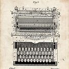 1896 Typewriter Invention Patent Art by Steve Chambers