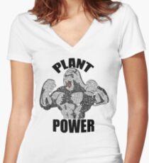 VEGAN POWER Women's Fitted V-Neck T-Shirt