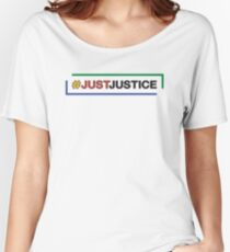 #JustJustice long on white Women's Relaxed Fit T-Shirt