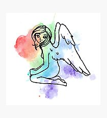 Rainbow Watercolor Angel Photographic Print