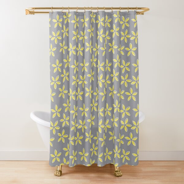 Pantone 2021 colours, Ultimate Gray and Illuminating, yellow flowers Shower Curtain