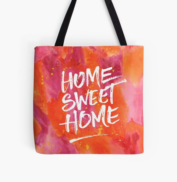 Home Sweet Home Handpainted Abstract Watercolor Orange Pink Yellow All Over Print Tote Bag