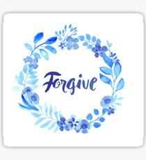 Forgive Watercolor Brush Lettering Blue Sticker