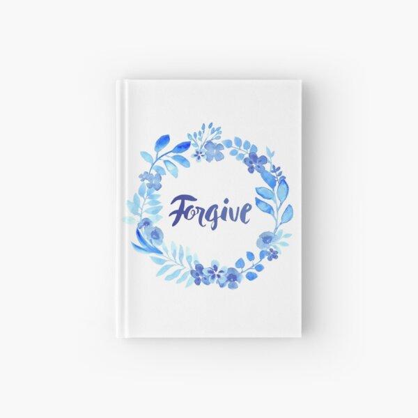 Forgive Watercolor Brush Lettering Blue Hardcover Journal