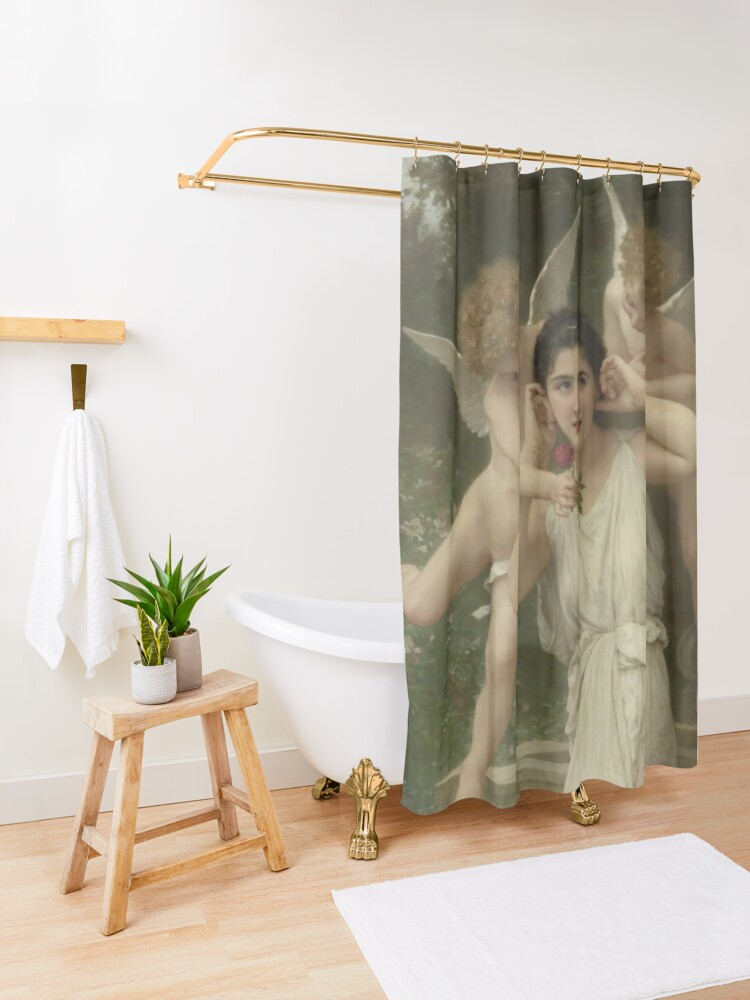 Alternate view of Realism Renaissance Famous Paintings: Youth, 1893, William-Adolphe Bouguereau Shower Curtain
