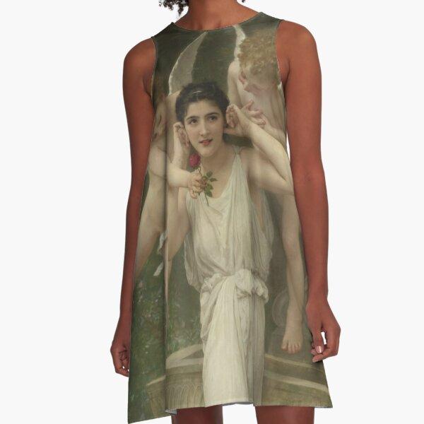 Realism Renaissance Famous Paintings: Youth, 1893, William-Adolphe Bouguereau A-Line Dress