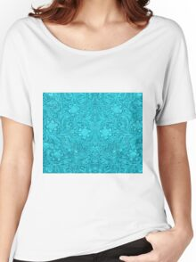 Turquoise Leather Texture Look-Embossed Floral Design Women's Relaxed Fit T-Shirt