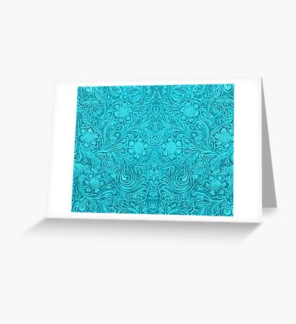 Turquoise Leather Texture Look-Embossed Floral Design Greeting Card