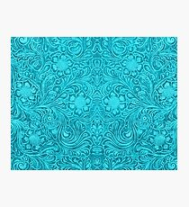 Turquoise Leather Texture Look-Embossed Floral Design Photographic Print