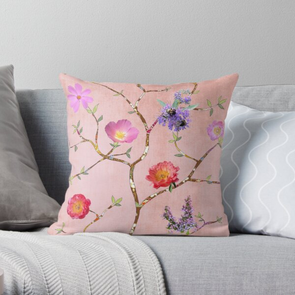 Chinoiserie Garden in Pink Throw Pillow