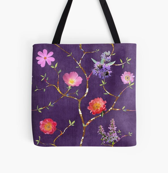 Chinoiserie Garden in Violet All Over Print Tote Bag