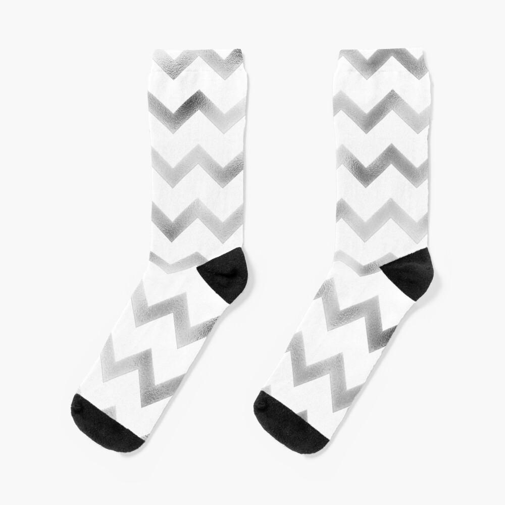 Silver and White Chevron Zig Zag Pattern Socks