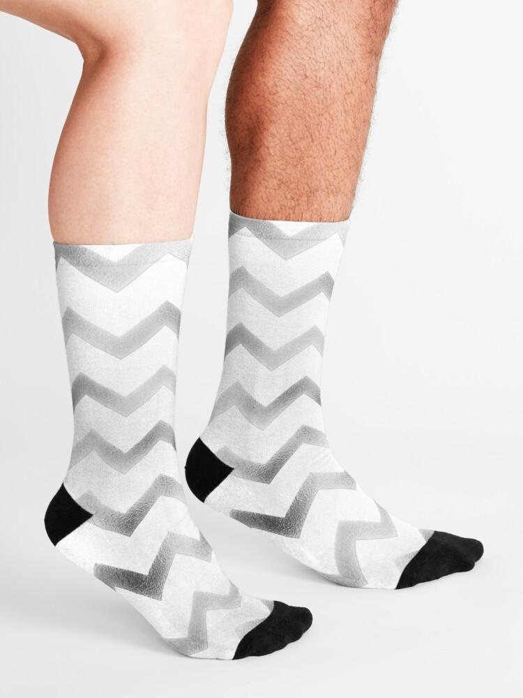 Alternate view of Silver and White Chevron Zig Zag Pattern Socks
